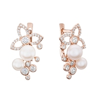 Gold earrings with pearls and zirconia